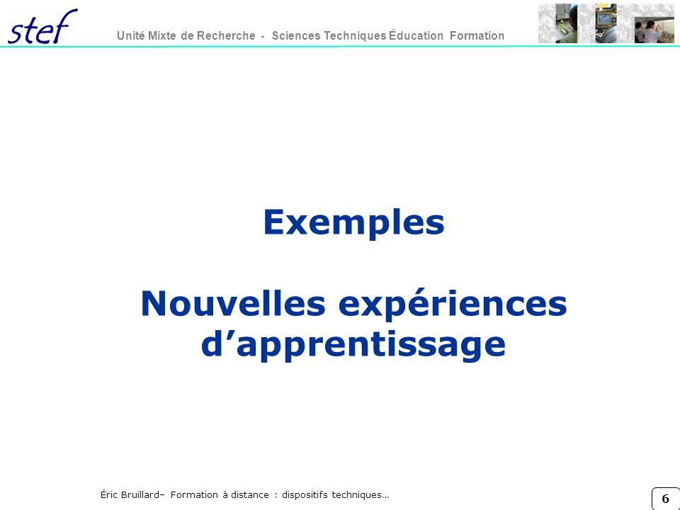 Exemples Nouvelles expériences d'apprentissage