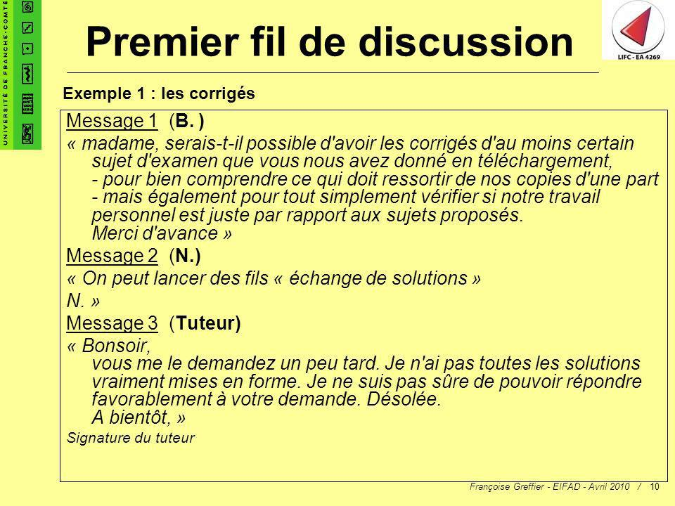 Premier fil de discussion