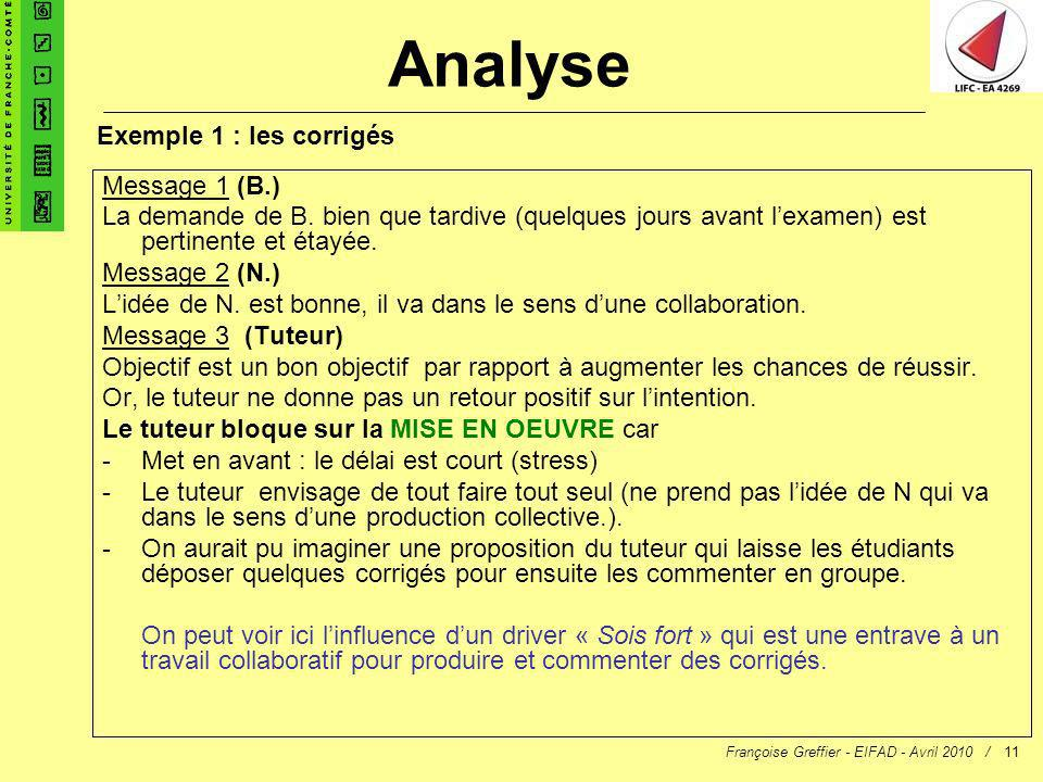 Analyse Exemple 1 : les corrigés Message 1 (B.)