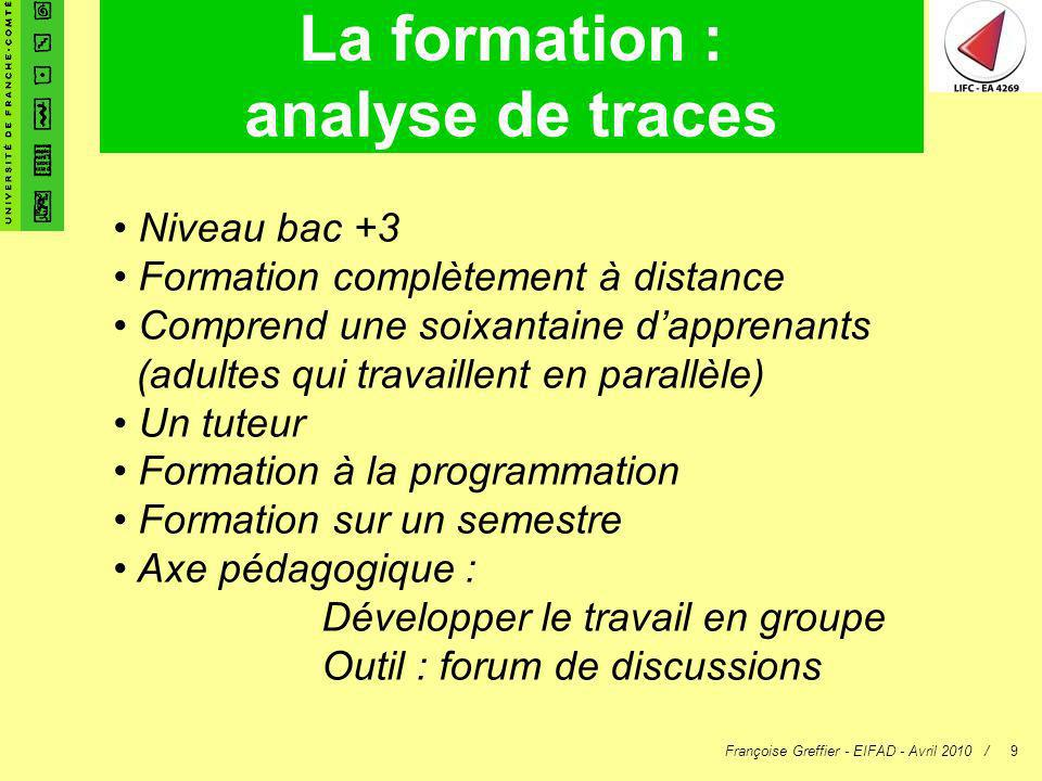 La formation : analyse de traces