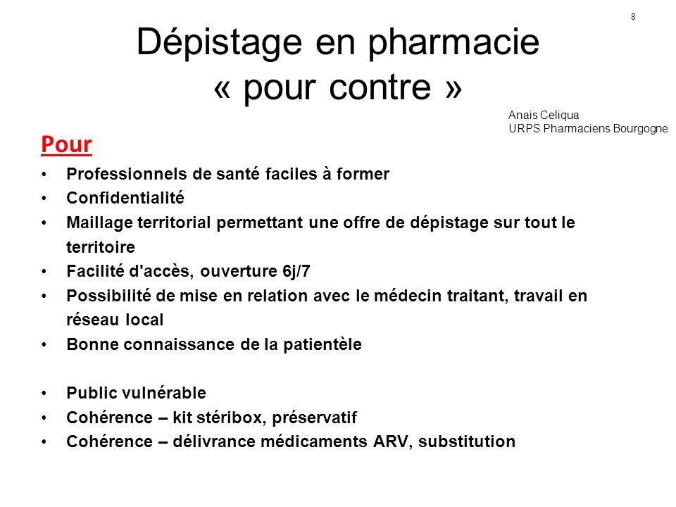 Dépistage en pharmacie « pour contre »