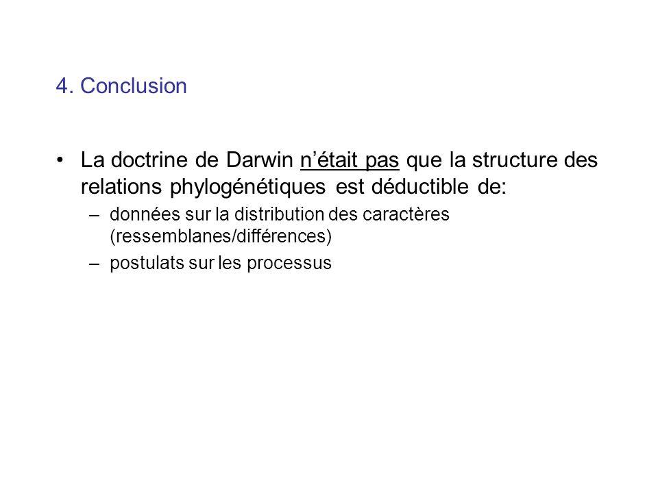4. Conclusion La doctrine de Darwin n'était pas que la structure des relations phylogénétiques est déductible de: