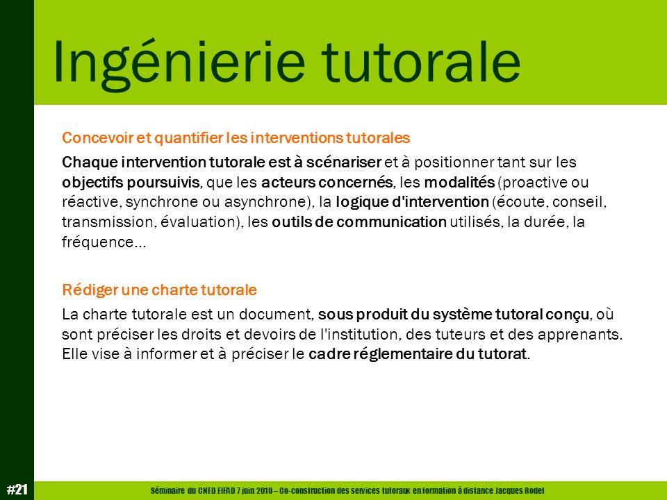 Ingénierie tutorale Concevoir et quantifier les interventions tutorales.
