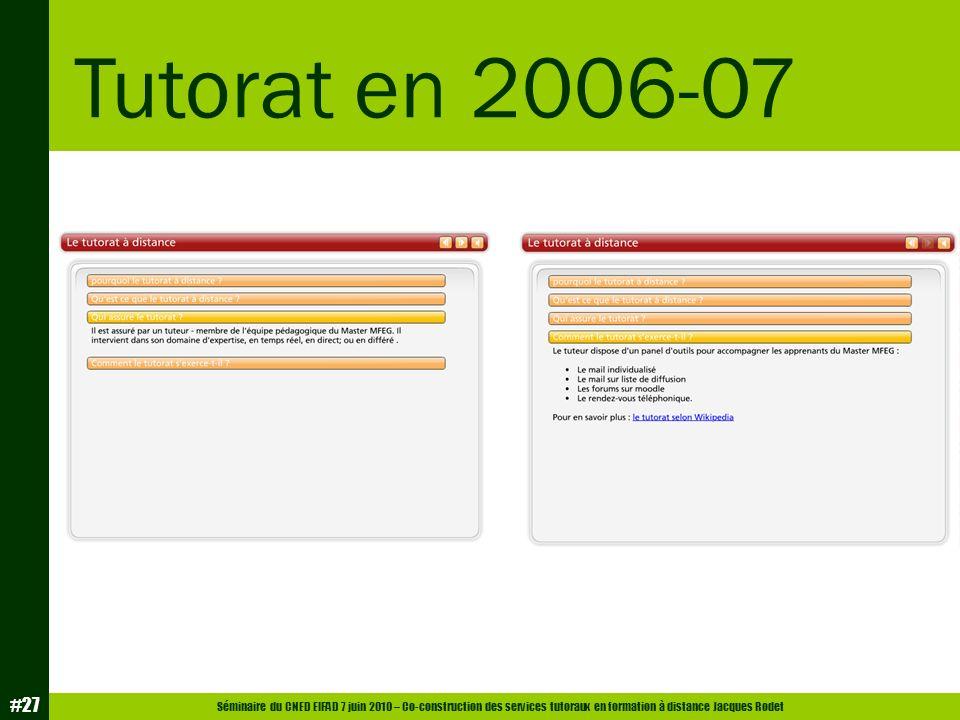 Tutorat en 2006-07