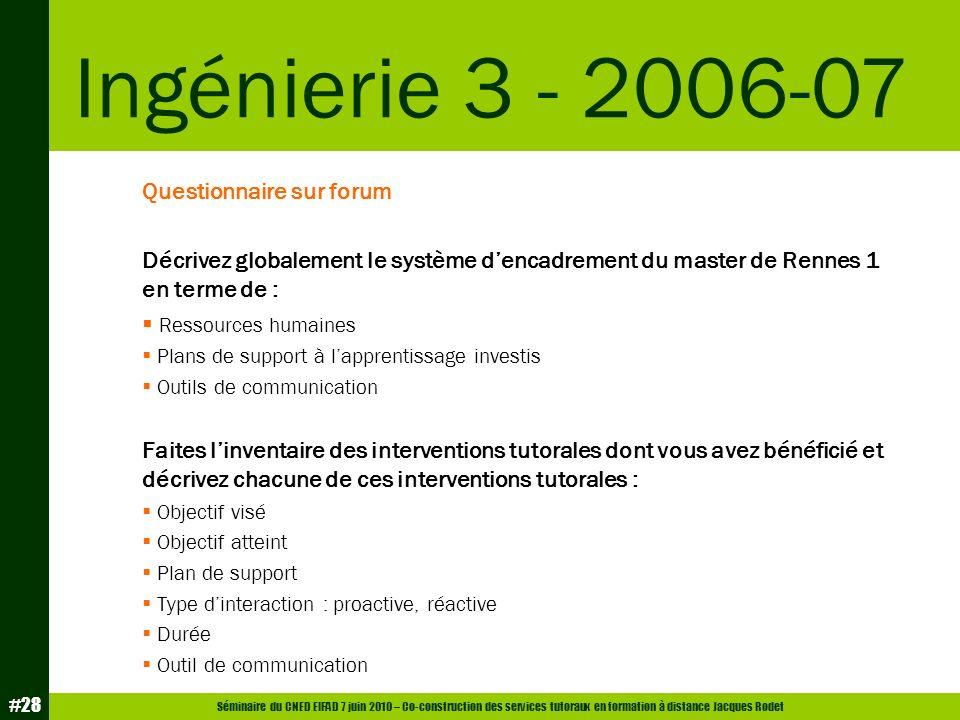 Ingénierie 3 - 2006-07 Questionnaire sur forum