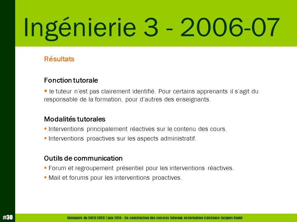 Ingénierie 3 - 2006-07 Résultats Fonction tutorale