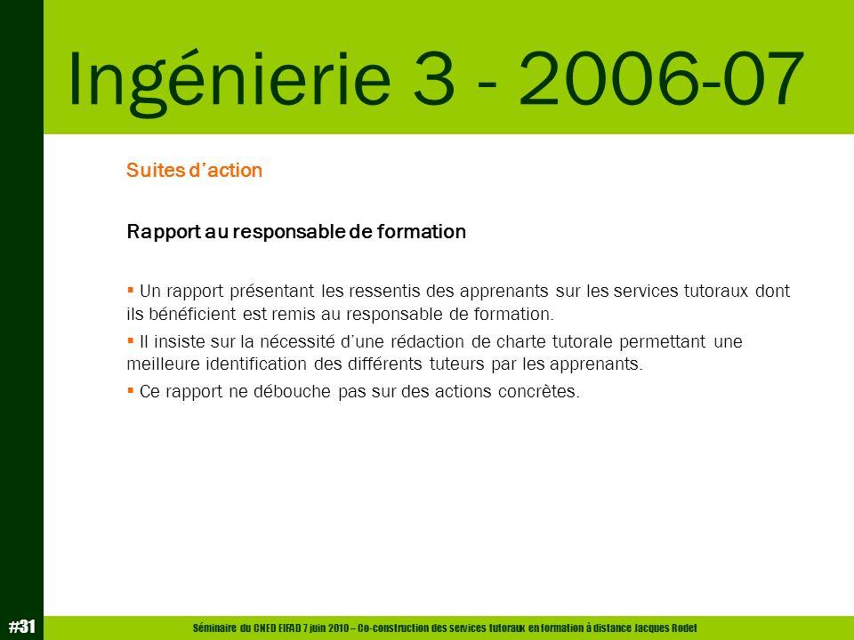 Ingénierie 3 - 2006-07 Suites d'action