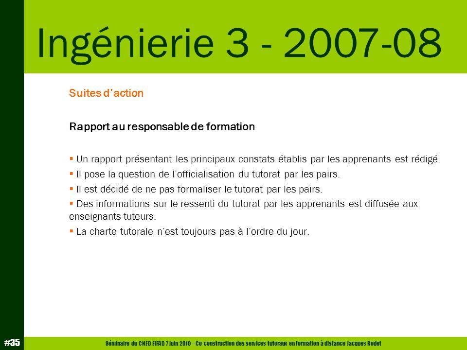 Ingénierie 3 - 2007-08 Suites d'action