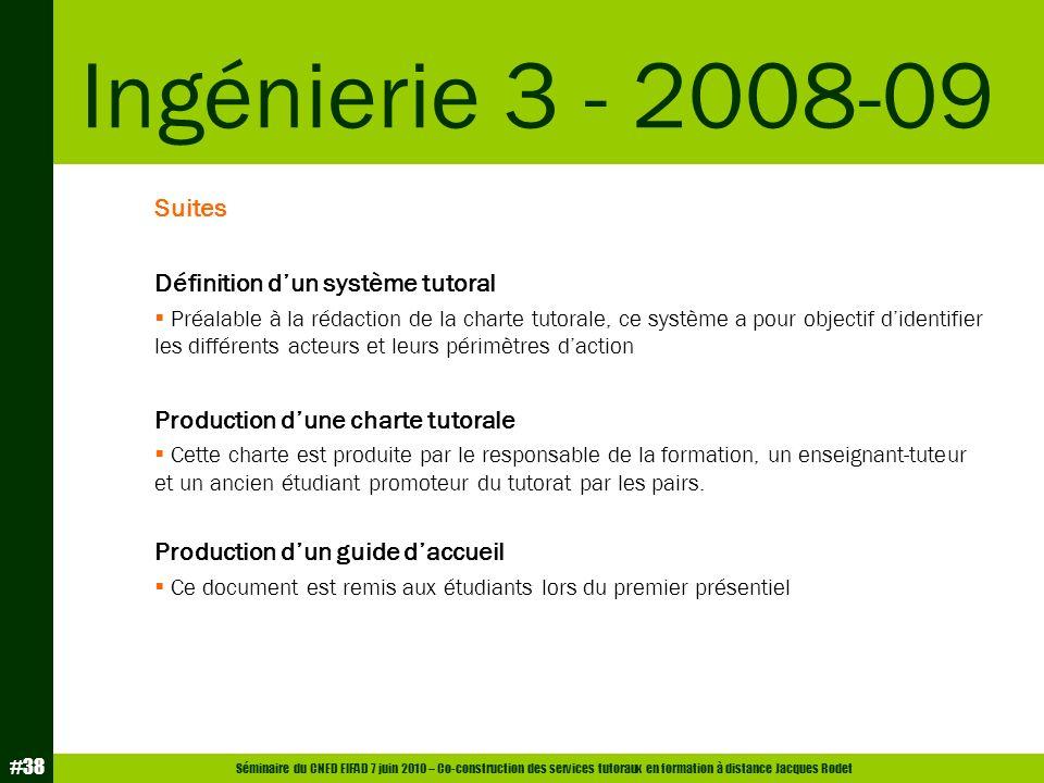 Ingénierie 3 - 2008-09 Suites Définition d'un système tutoral