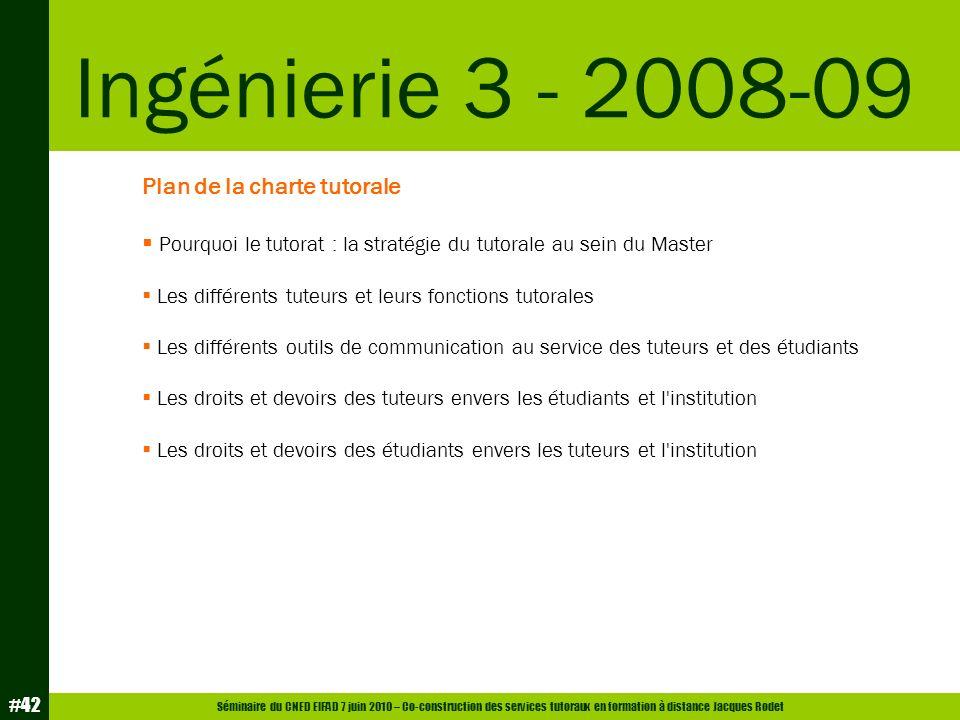 Ingénierie 3 - 2008-09 Plan de la charte tutorale