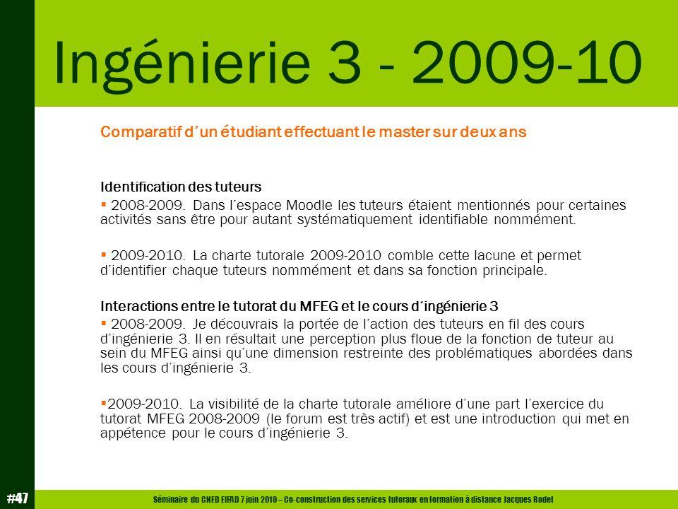 Ingénierie 3 - 2009-10 Comparatif d'un étudiant effectuant le master sur deux ans. Identification des tuteurs.