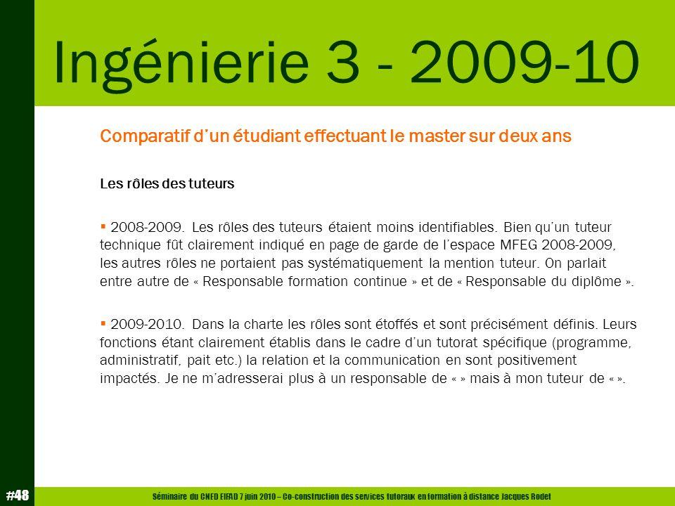 Ingénierie 3 - 2009-10 Comparatif d'un étudiant effectuant le master sur deux ans. Les rôles des tuteurs.