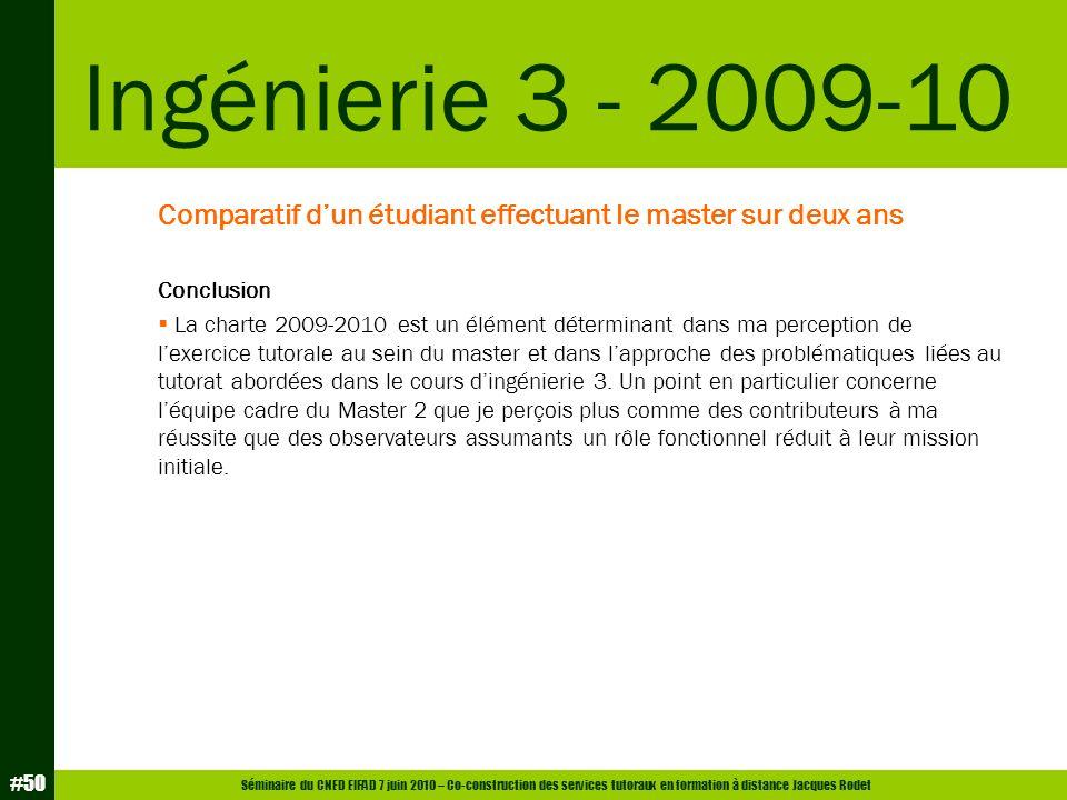 Ingénierie 3 - 2009-10 Comparatif d'un étudiant effectuant le master sur deux ans. Conclusion.