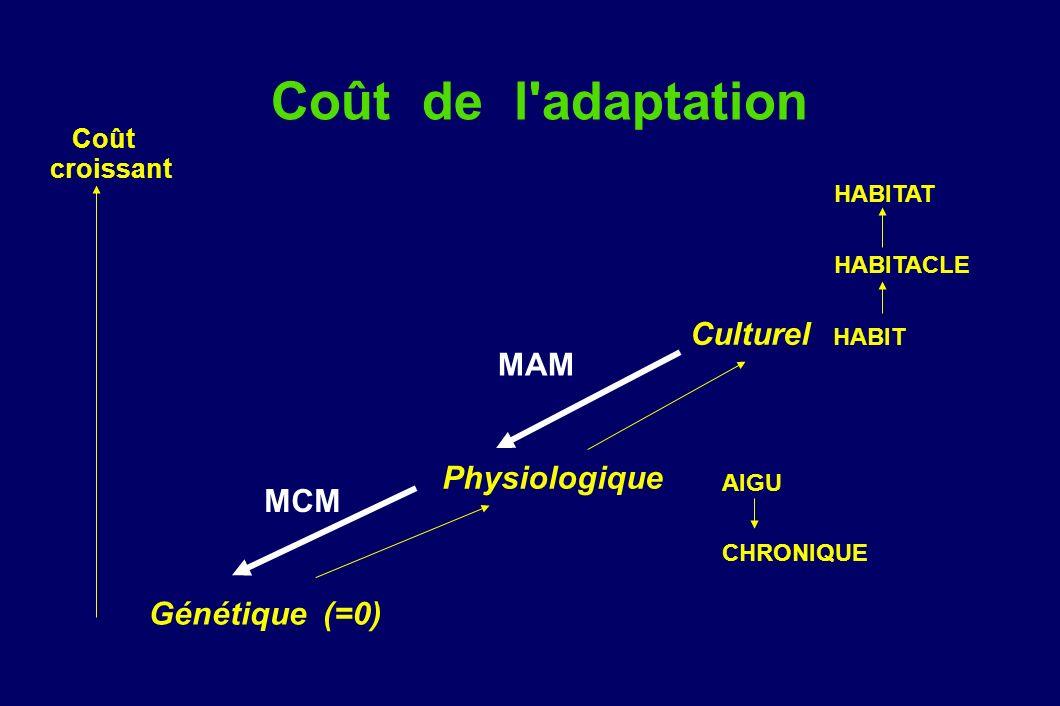 Coût de l adaptation Culturel HABIT MAM Physiologique MCM