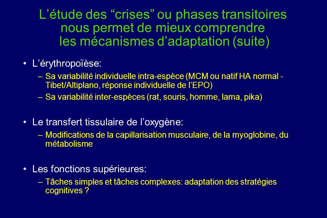 L'étude des crises ou phases transitoires nous permet de mieux comprendre les mécanismes d'adaptation (suite)