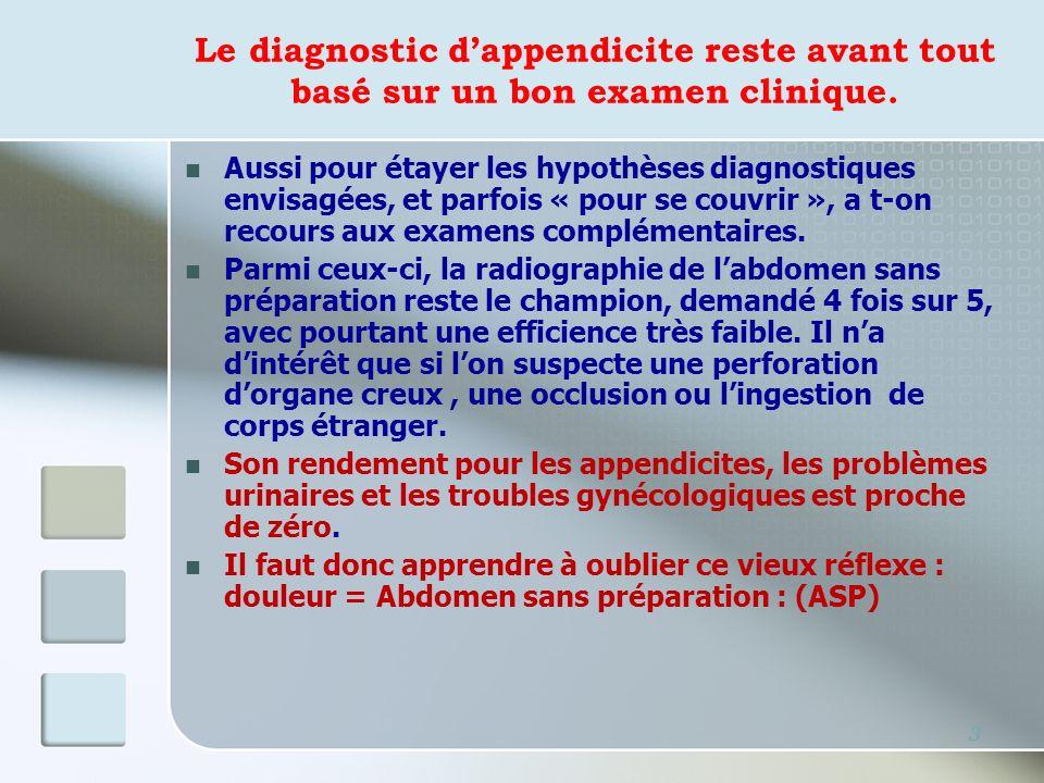 Le diagnostic d'appendicite reste avant tout basé sur un bon examen clinique.