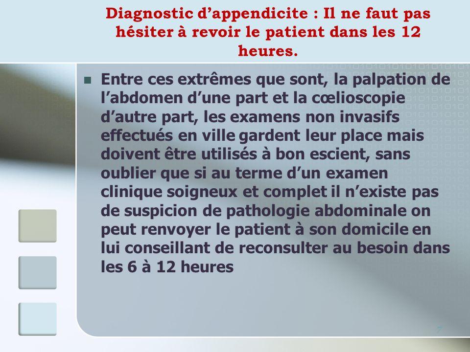Diagnostic d'appendicite : Il ne faut pas hésiter à revoir le patient dans les 12 heures.