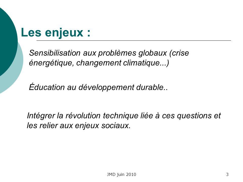 Les enjeux : Sensibilisation aux problèmes globaux (crise énergétique, changement climatique...) Éducation au développement durable..