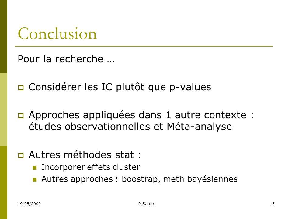 Conclusion Pour la recherche … Considérer les IC plutôt que p-values