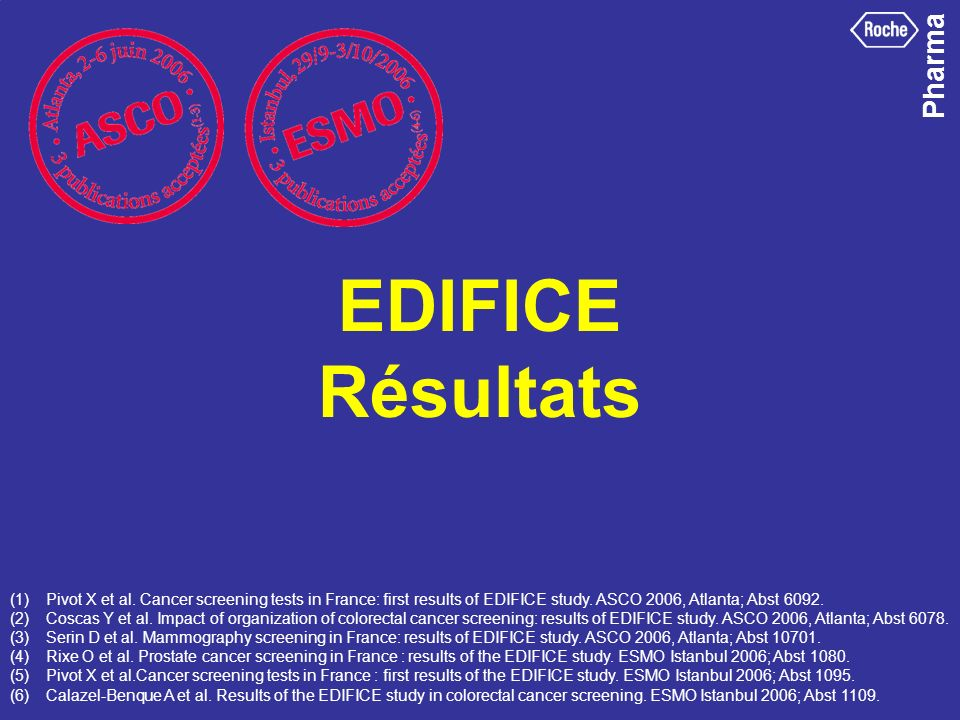 EDIFICE Résultats Les résultats de Edifice ont été acceptés et présentés au Congrès de l'American Society of Oncology en juin 2006.