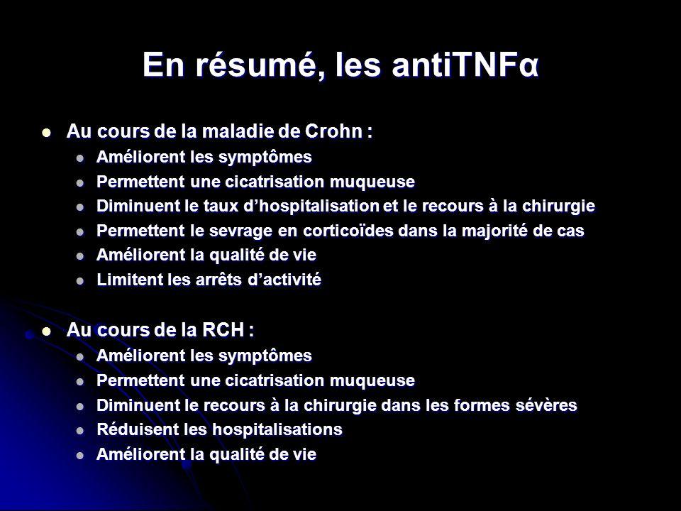 En résumé, les antiTNFα Au cours de la maladie de Crohn :