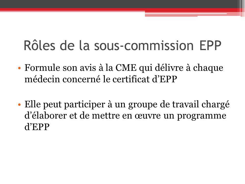 Rôles de la sous-commission EPP