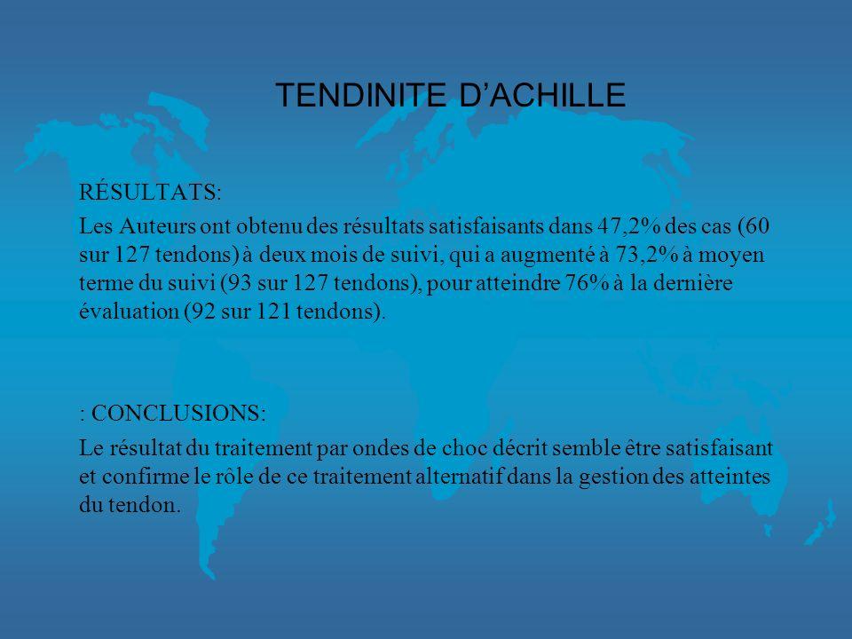TENDINITE D'ACHILLE RÉSULTATS: