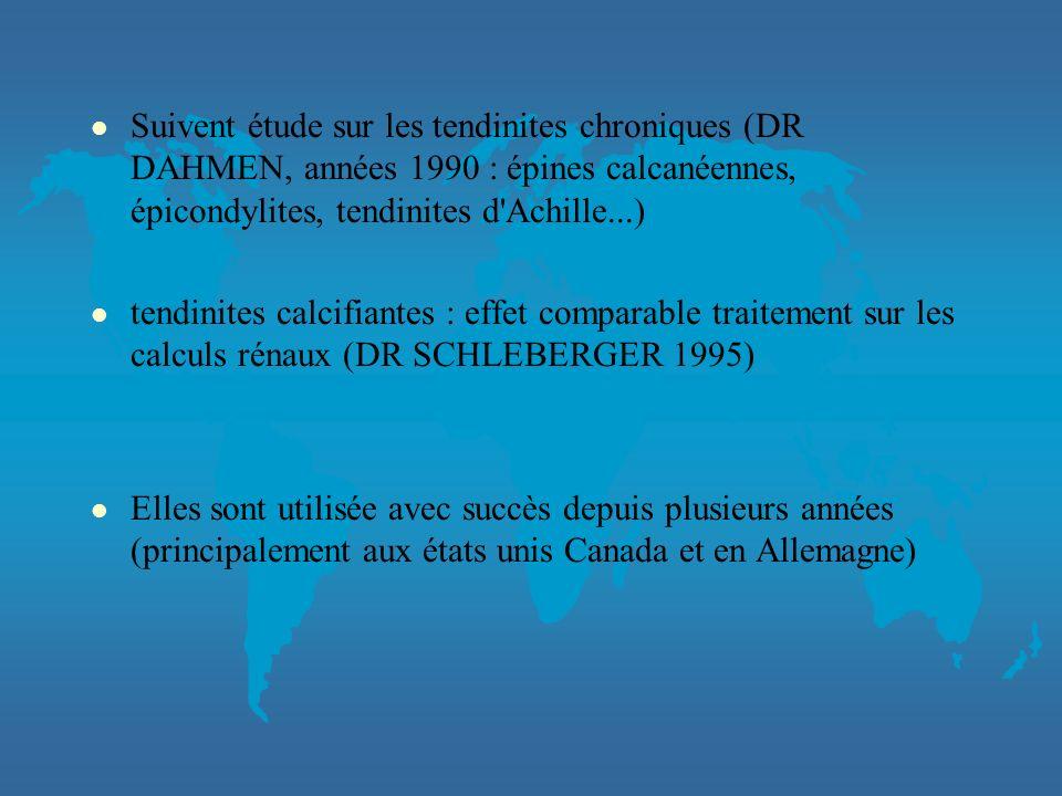 Suivent étude sur les tendinites chroniques (DR DAHMEN, années 1990 : épines calcanéennes, épicondylites, tendinites d Achille...)