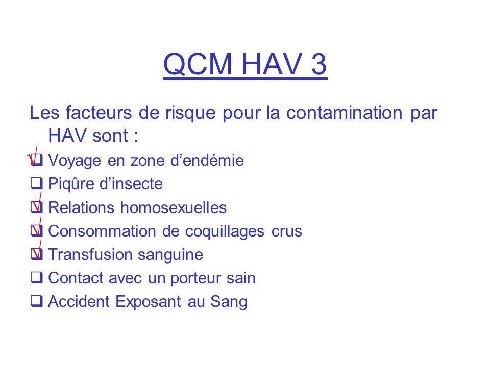 QCM HAV 3 Les facteurs de risque pour la contamination par HAV sont : Voyage en zone d'endémie. Piqûre d'insecte.