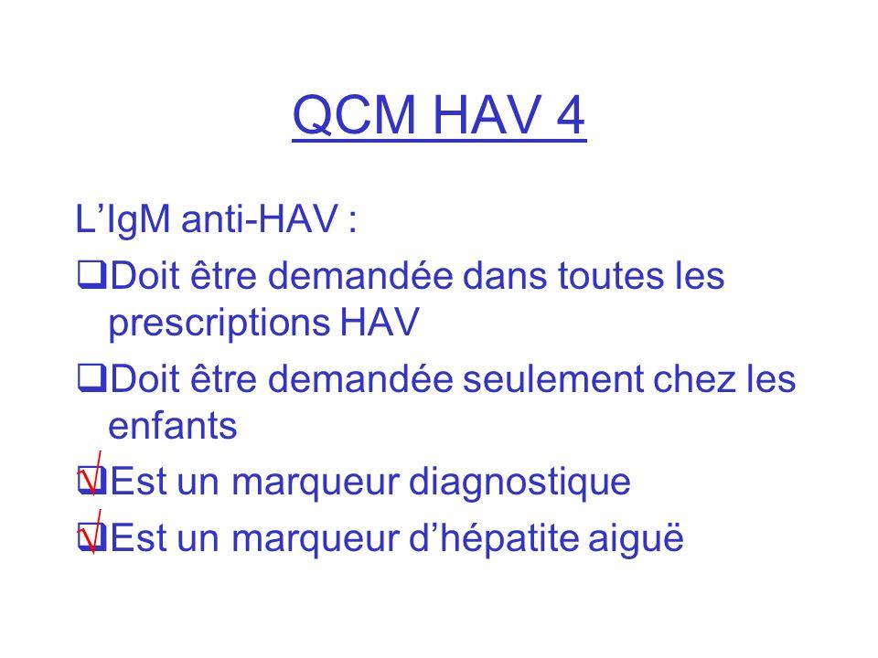 QCM HAV 4 √ √ L'IgM anti-HAV :