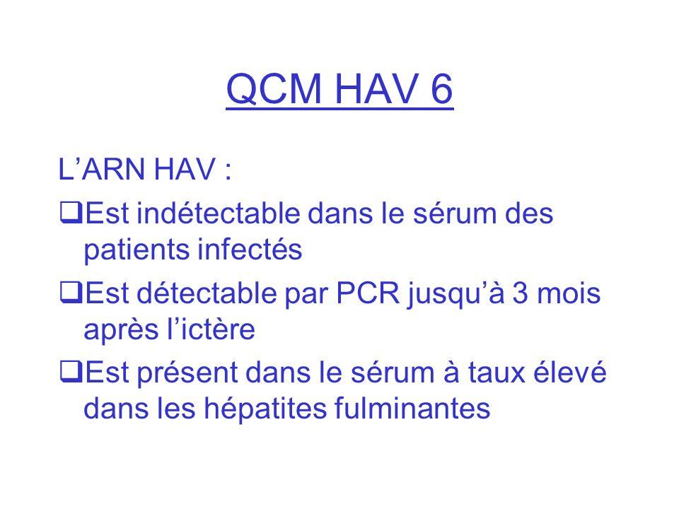 QCM HAV 6 L'ARN HAV : Est indétectable dans le sérum des patients infectés. Est détectable par PCR jusqu'à 3 mois après l'ictère.