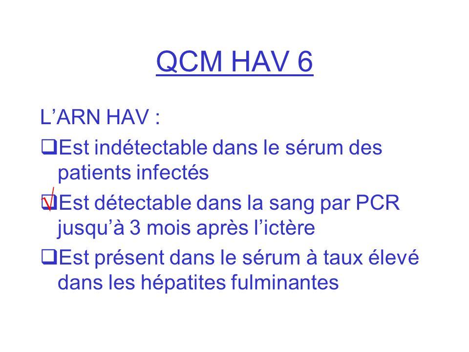 QCM HAV 6 L'ARN HAV : Est indétectable dans le sérum des patients infectés. Est détectable dans la sang par PCR jusqu'à 3 mois après l'ictère.
