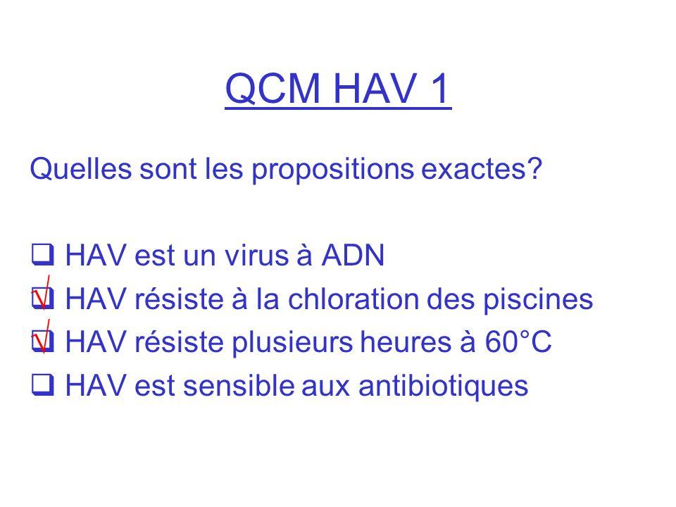 QCM HAV 1 √ √ Quelles sont les propositions exactes