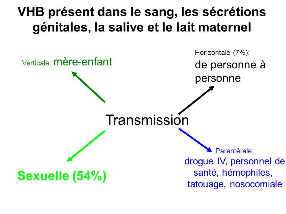 VHB présent dans le sang, les sécrétions génitales, la salive et le lait maternel