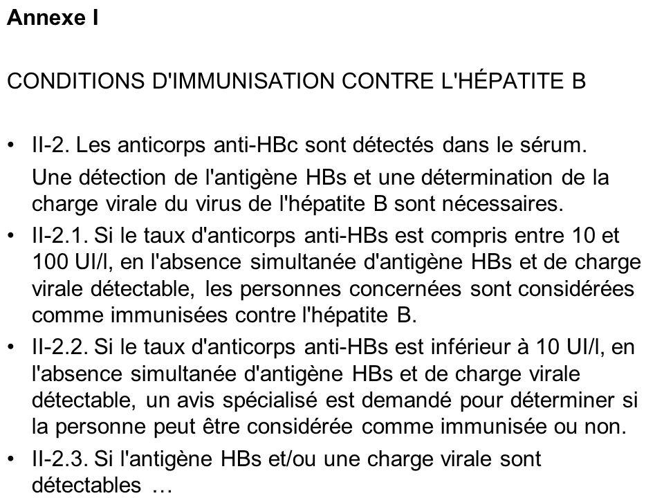Annexe I CONDITIONS D IMMUNISATION CONTRE L HÉPATITE B. II-2. Les anticorps anti-HBc sont détectés dans le sérum.