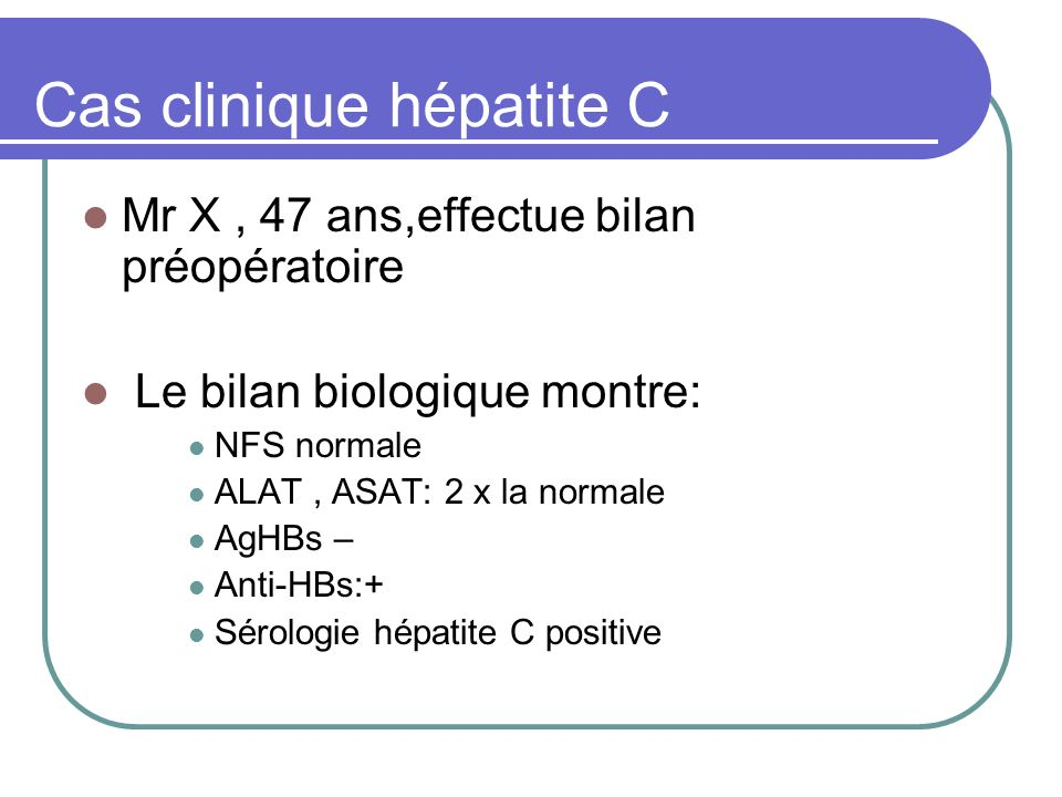 Cas clinique hépatite C