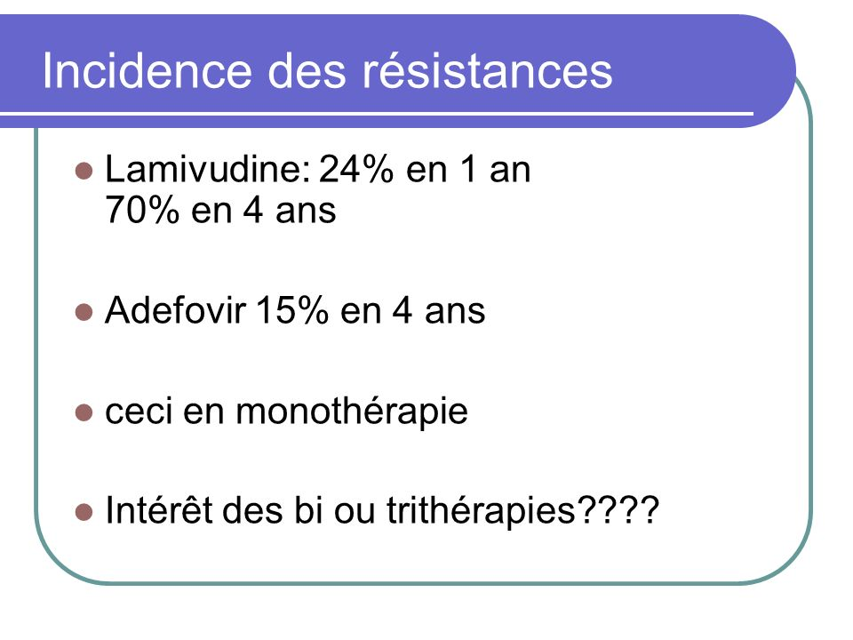 Incidence des résistances
