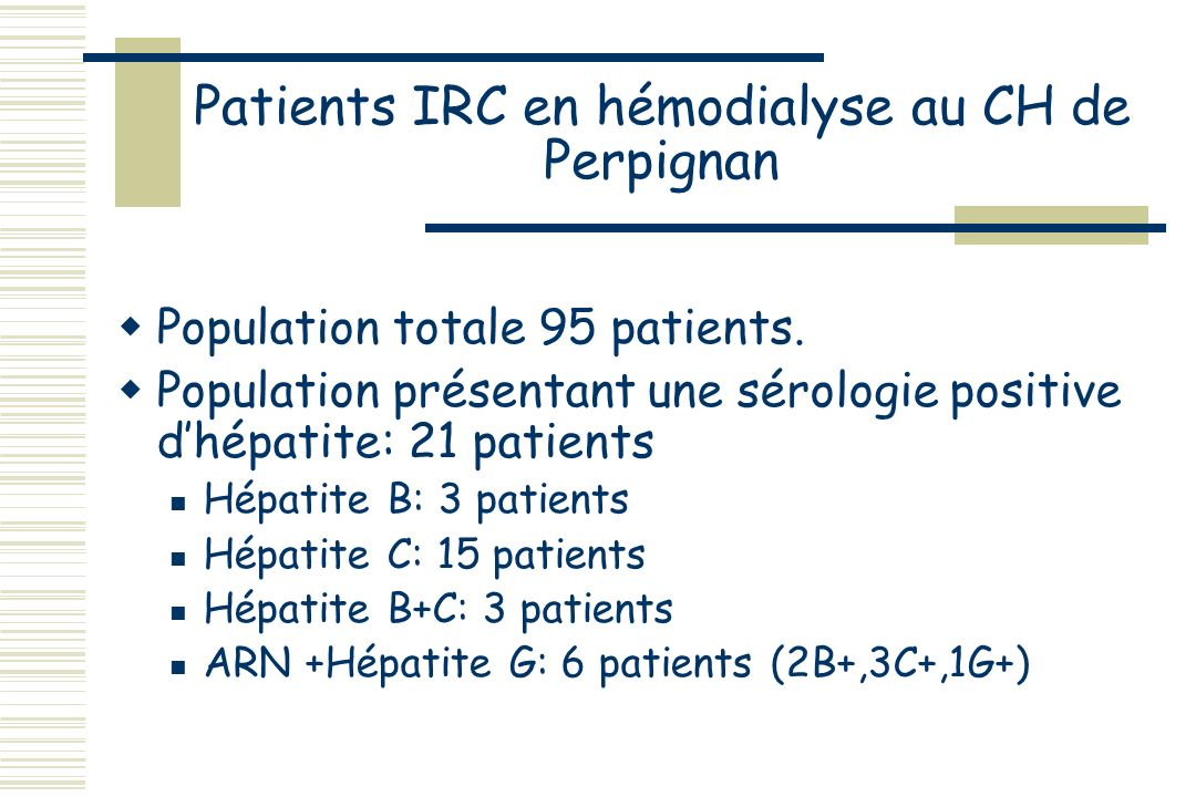 Patients IRC en hémodialyse au CH de Perpignan