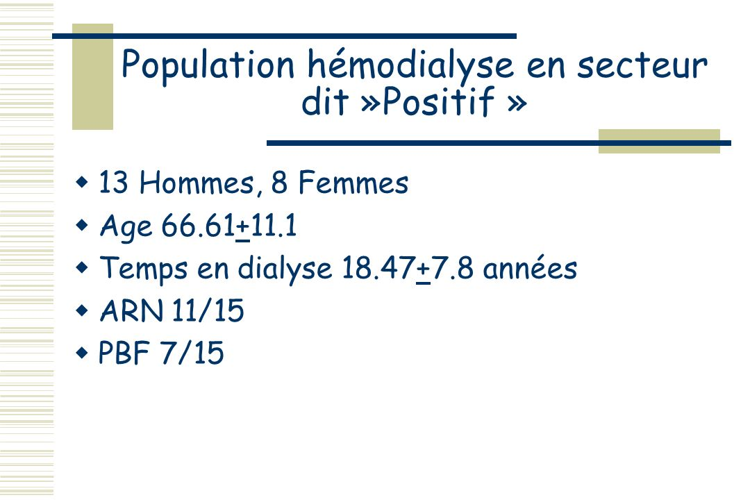 Population hémodialyse en secteur dit »Positif »