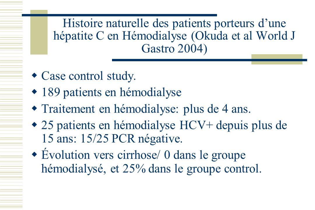 Histoire naturelle des patients porteurs d'une hépatite C en Hémodialyse (Okuda et al World J Gastro 2004)