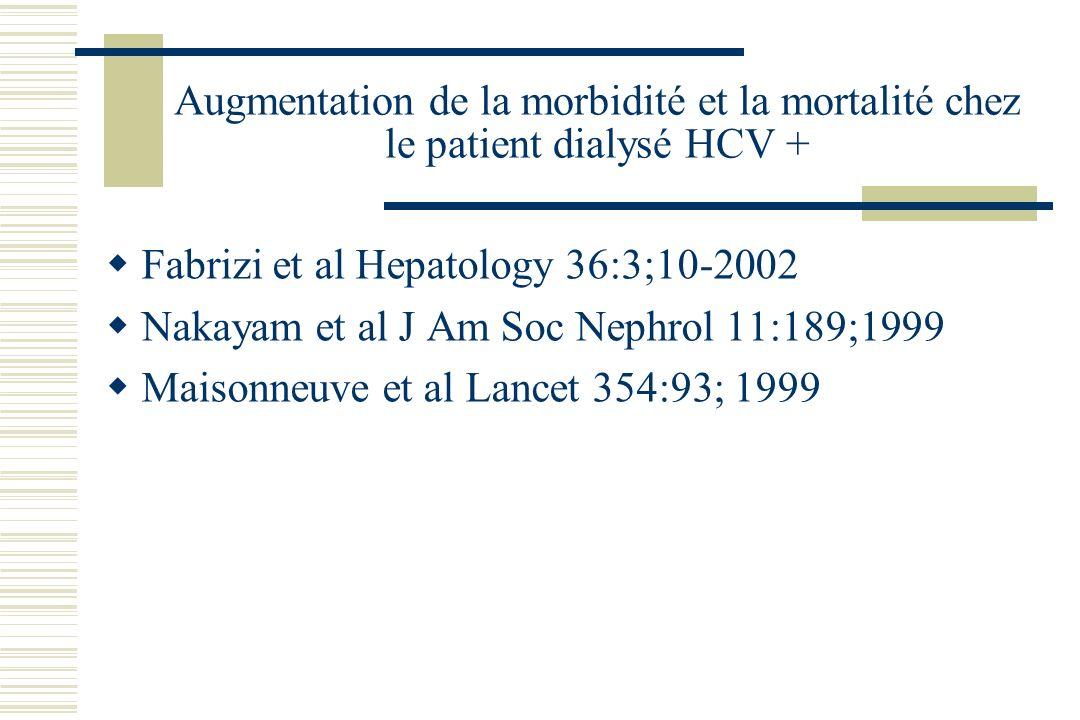 Augmentation de la morbidité et la mortalité chez le patient dialysé HCV +