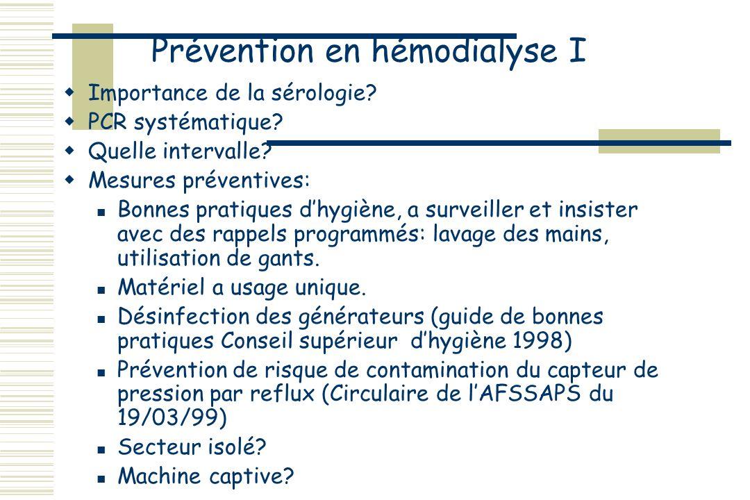 Prévention en hémodialyse I