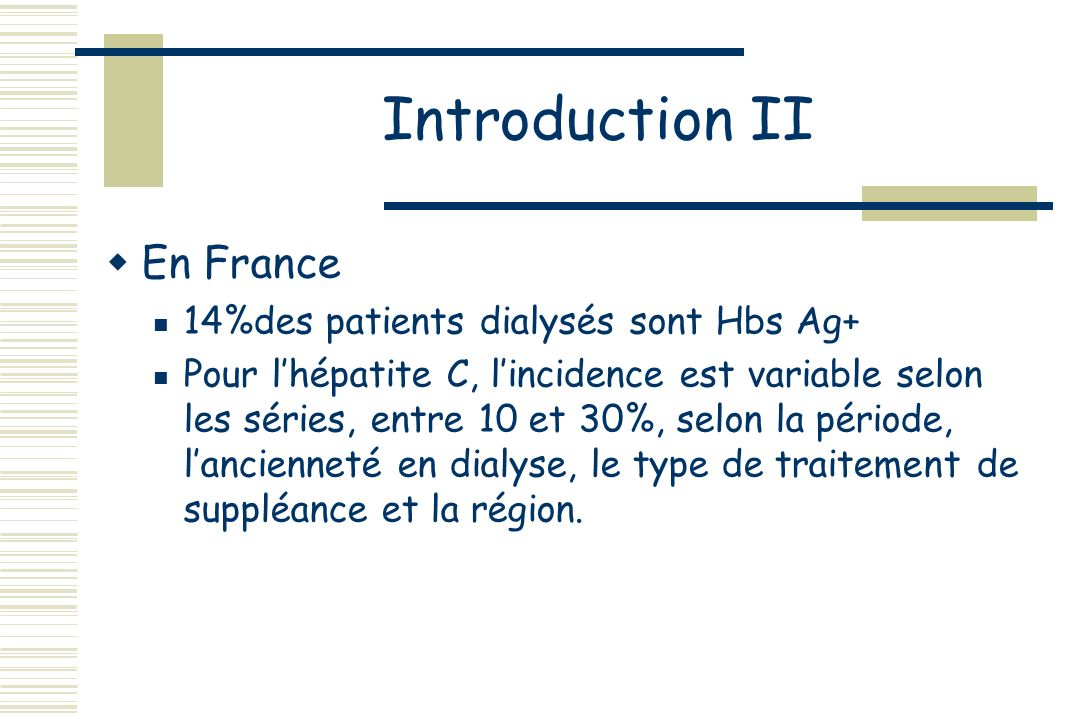 Introduction II En France 14%des patients dialysés sont Hbs Ag+