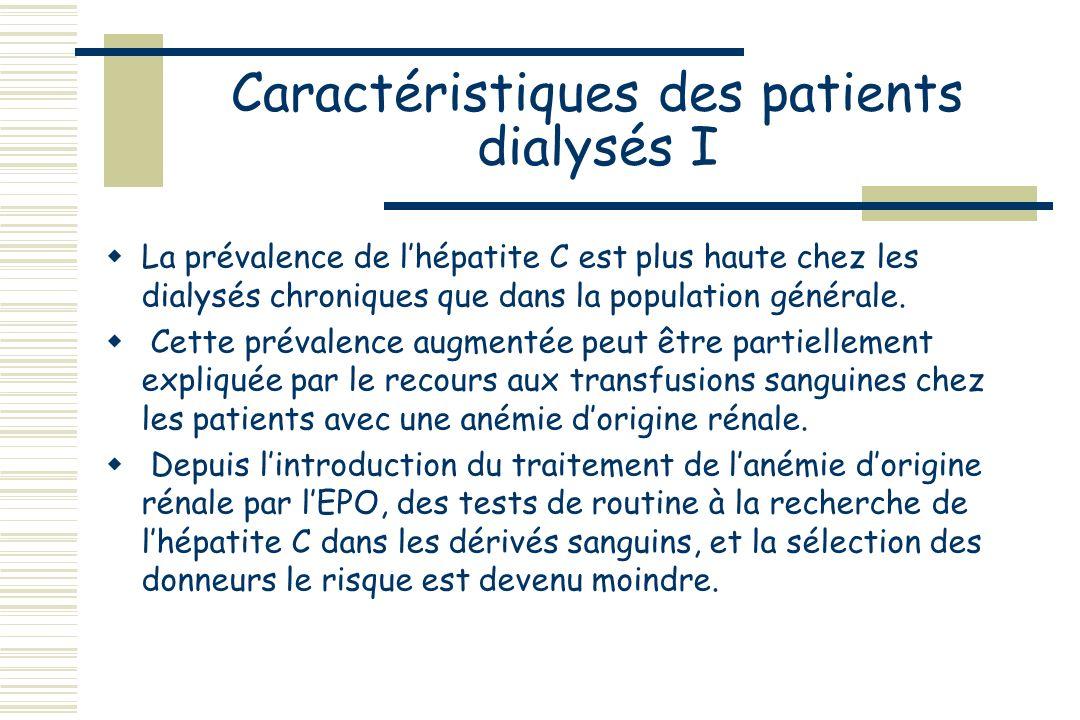 Caractéristiques des patients dialysés I
