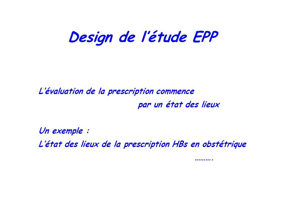 Design de l'étude EPP L'évaluation de la prescription commence