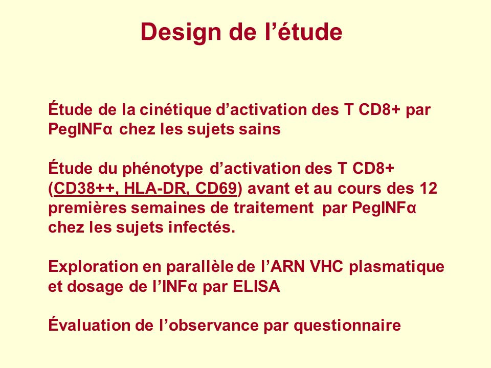 Design de l'étudeÉtude de la cinétique d'activation des T CD8+ par PegINFα chez les sujets sains.