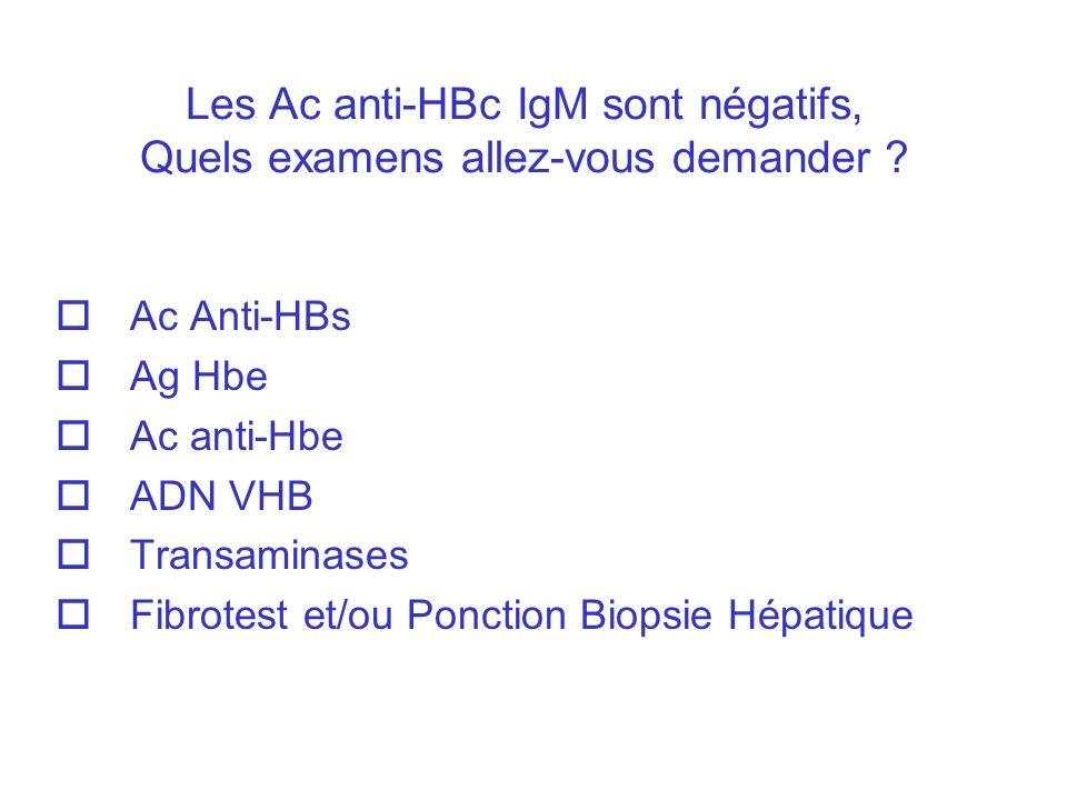 Les Ac anti-HBc IgM sont négatifs, Quels examens allez-vous demander