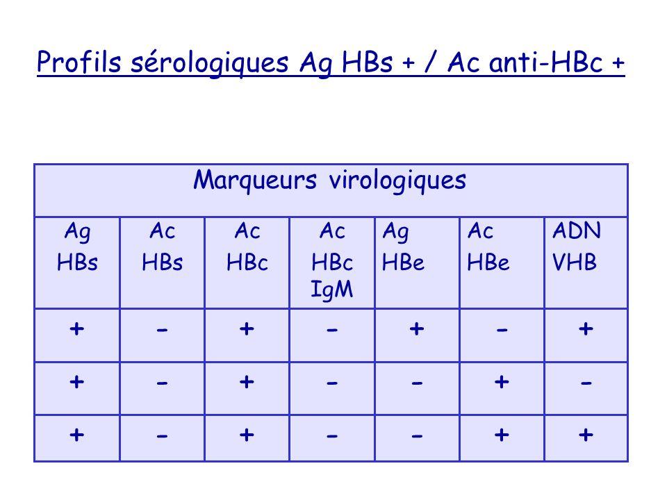 Profils sérologiques Ag HBs + / Ac anti-HBc +