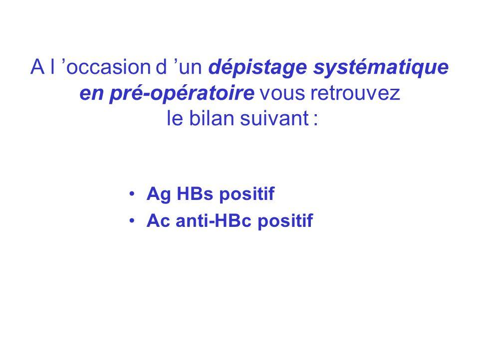 A l 'occasion d 'un dépistage systématique en pré-opératoire vous retrouvez le bilan suivant :