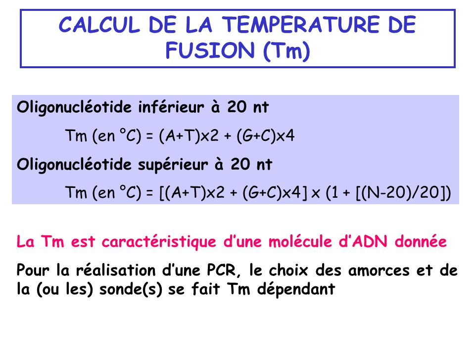 CALCUL DE LA TEMPERATURE DE FUSION (Tm)